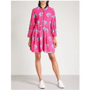 Maje Zip Front Pink Floral Pleated Crepe Dress